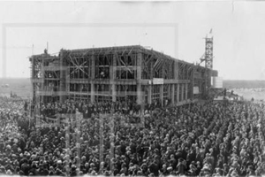 Thousands of people attended the laying of the cornerstone of the Administration Building.