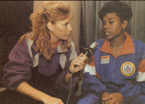 Sheryl Swoopes is interviewed by Nancy Lieberman, who in 1993 worked as a TV analyst.