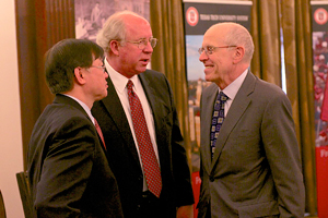 Chau-Chyun Chen speaking with Jim Maddox of the J.F Maddox Foundation and Chancellor Kent Hance.