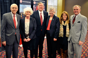 From left to right, Chancellor Kent Hance and his wife Susie; new President Duane Nellis and his wife Ruthie; and Board of Regents Vice Chairman Larry Anders and his wife Nessa.