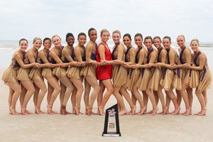 Texas Tech's pom squad at the 2013 National Cheerleaders Association and National Dance Association Collegiate Cheer and Dance Competition in Daytona Beach, Fla.