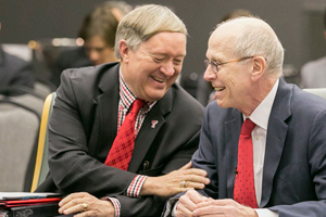 Hance and Texas Tech President M. Duane Nellis share a laugh at the Board of Regents meeting.