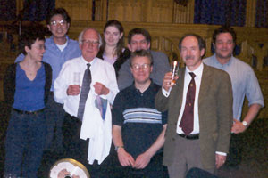 Sung-won Lee, second from left, celebrates Peter Higgs' 70th birthday, third from left at a birthday part in 2000 in Edinburgh, Scotland. Nobel laureate Gerardus 't Hooft, second from the right, is also pictured.