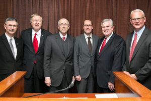 From left to right, Michael Galyean, dean of the College of Agricultural Sciences and Natural Resources, President M. Duane Nellis, Chancellor Kent Hance, and Bayer CropScience officials Frank Terhorst, Mike Gilbert and Lee Rivenbark.