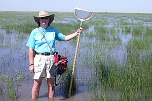 Nancy McIntyre in a playa wetland in Briscoe County.