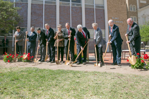 Texas Tech and Bayer CropScience officials break ground on the expansion and renovation of the Bayer Plant Science Building.