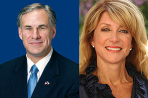 Texas gubernatorial candidates Greg Abbott and Wendy Davis.