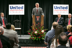 Texas Tech President M. Duane Nellis addresses the crowd.