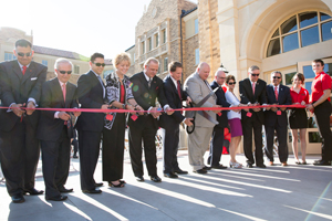 University officials cut the ribbon on the new West Village student housing complex.