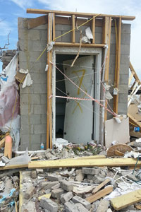 This door attached to an above-ground shelter failed during an EF-4 tornado in Arkansas on April 27, resulting in one death.