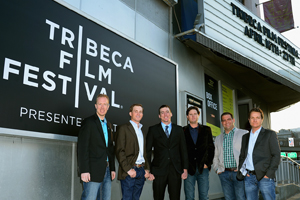 Bellah, second from left, along with other cast mates at the Tribeca Film Festival.