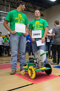 Two competitors from Lazbuddie High School await their turn.
