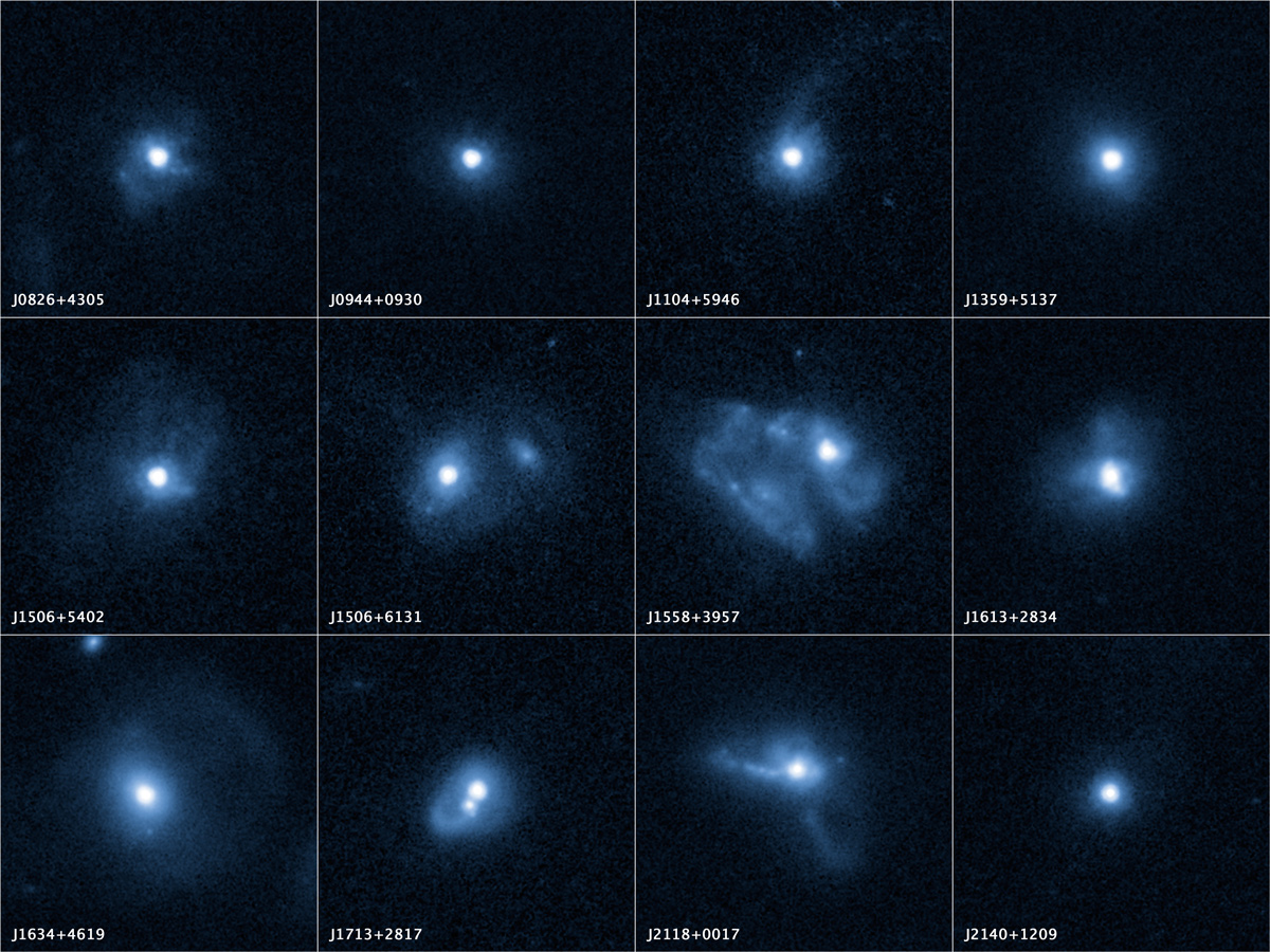 Outflows from 12 merging galaxies