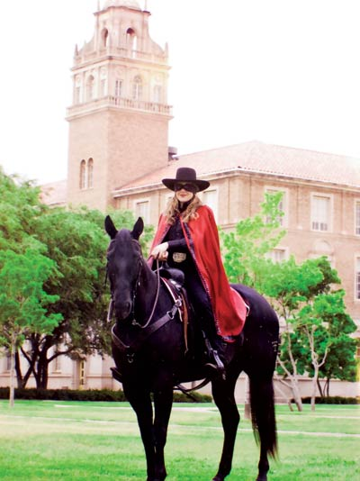 Stockard atop Midnight Matador during the 2004-2005 season.