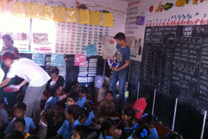 Rural India classroom - no tables or chairs