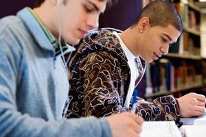 College students doing homework