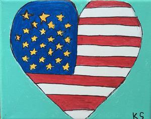 "Burkhart Student Kassandra Striebeck, Heart Flag. Acrylic 8""x10"""