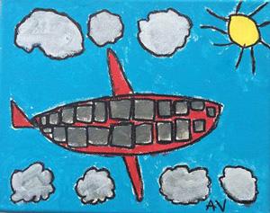 "Burkhart Student Abram Vela, Airplane. Acrylic 8""x10"""