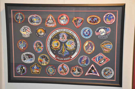 These patches, taken into space by the Columbia crew, were found after the explosion.