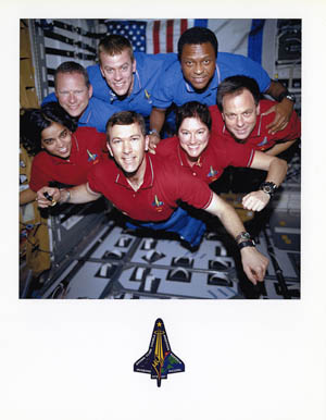 "The Columbia crew took this photo of themselves while in space. It was called ""the miracle photo"" because the film was found intact inside the camera after the explosion."