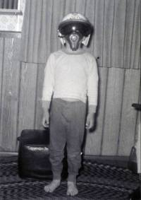 A young Rick Husband poses in his Steve Canyon helmet.
