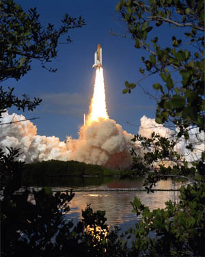 Space Shuttle Columbia lifts off from Kennedy Space Center on Jan. 16, 2003.