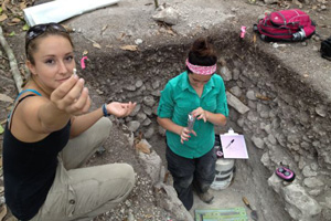 Students excavating burial site