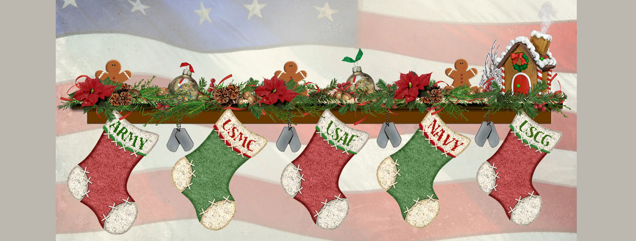 Stockings at fireplace with US Flag background