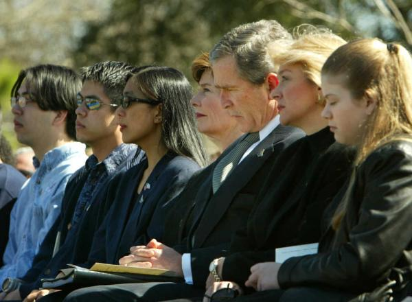 President Bush with families