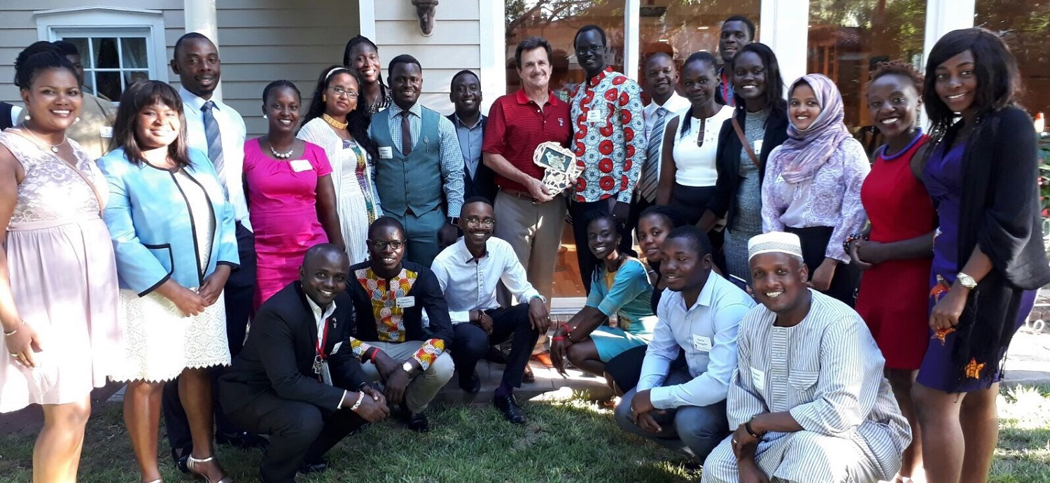 2017 Mandela Fellows with President Lawrence Schovanec
