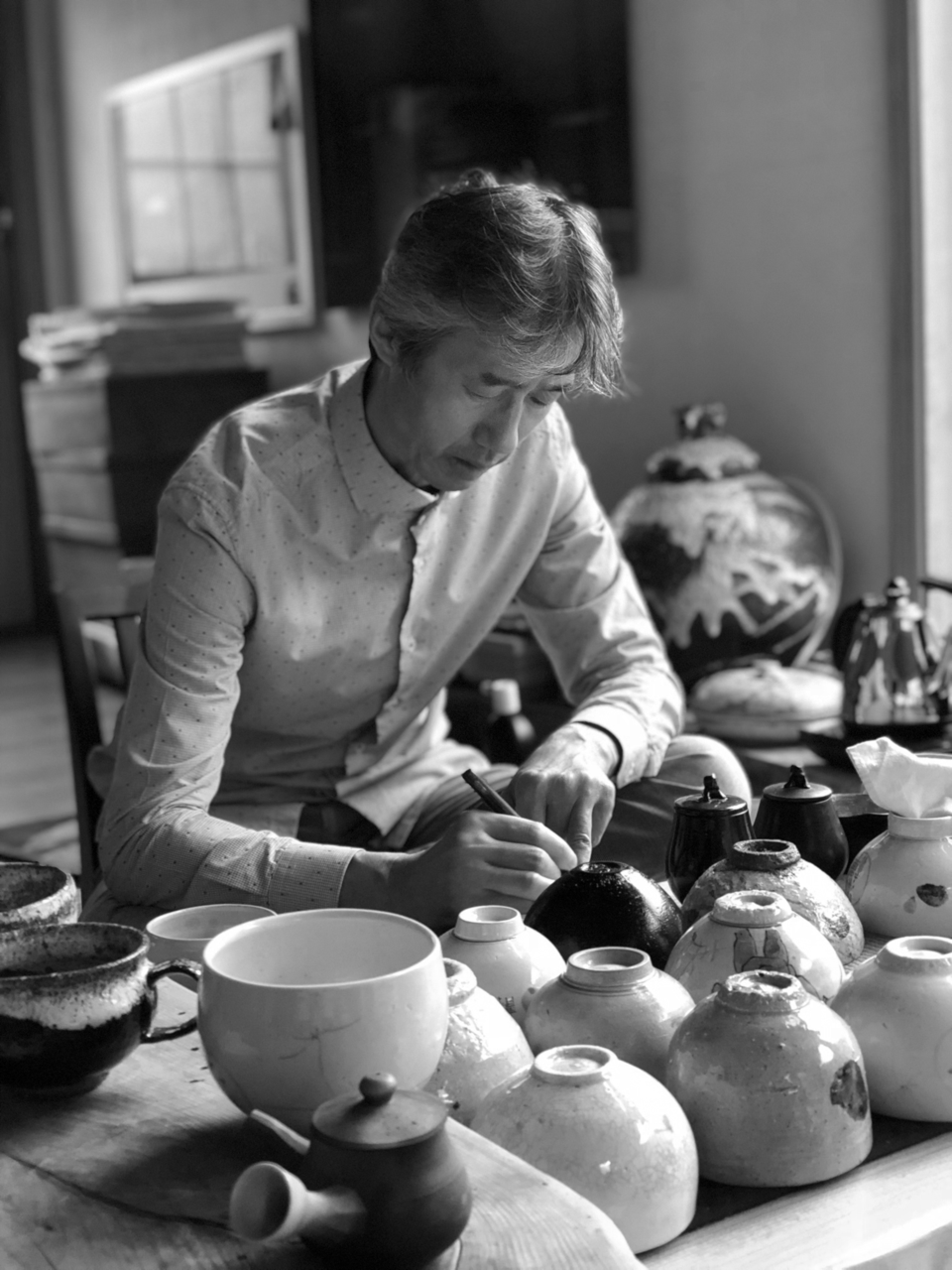 Professor Yoo creating ceramics
